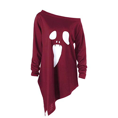HOMEBABY Womens Halloween Lange Mouw Ghost Print Sweatshirt Dames Pullover Tops T-Shirt Klassieke Blouse Mode Halloween Prestaties Kostuums