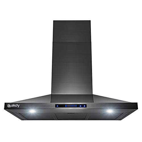 AKDY 36 in. 343 CFM Convertible Wall Mount Kitchen Range Hood with LED Lights in Black Stainless Steel