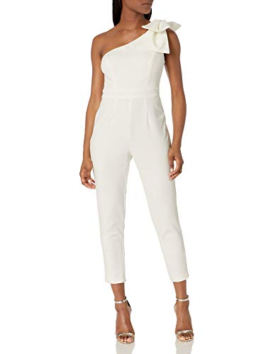 Adrianna Papell Women's One Shoulder Jumpsuit Petite, Ivory, 6P