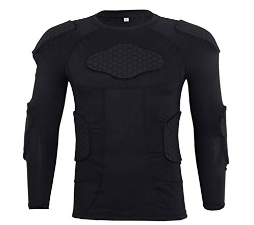 Qike Men's Long Sleeve Goalkeeper Padded Shirt Football...
