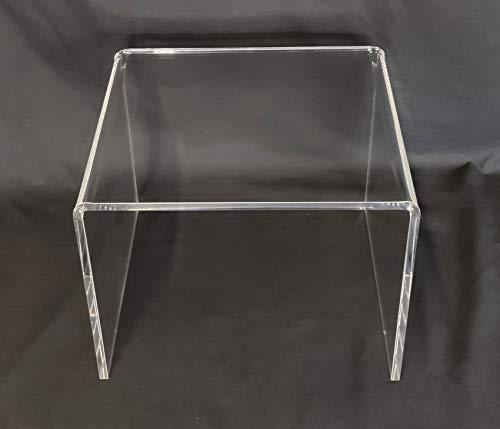 Cavinato acrylics - Tavolino Basso - Supporto a Ponte in plexiglass Trasparente cm. 35 x 33 x H. 26,5