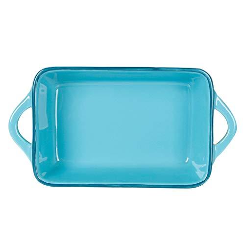 JD Bandeja de Horno, Creativo del Pavo Real Azul Ensalada Placa de cerámica del Filete pastas Placa de cerámica de microondas oído Bandeja de Desayuno Fácil de Limpiar (Size : D)