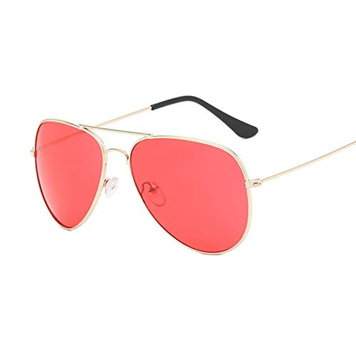 NJJX Gafas De Sol De Piloto De Moda Para Mujer, Gafas De Sol Coloridas Para Mujer, Espejos, Dorado, Rojo