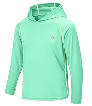 AODULO Boy and Girl Shirts UPF50+ Sun Shirt Boys Size 8 Shirt Athletic UV Rash Guard Long Sleeve Hoodie T Shirt Playing Mint Green