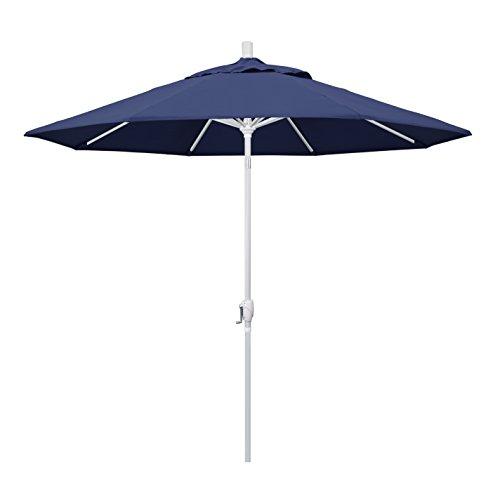California Umbrella GSPT908170-F09 9' Round Aluminum Market, Crank Lift, Push Button Tilt, White Pole, Navy Blue Olefin Patio Umbrella