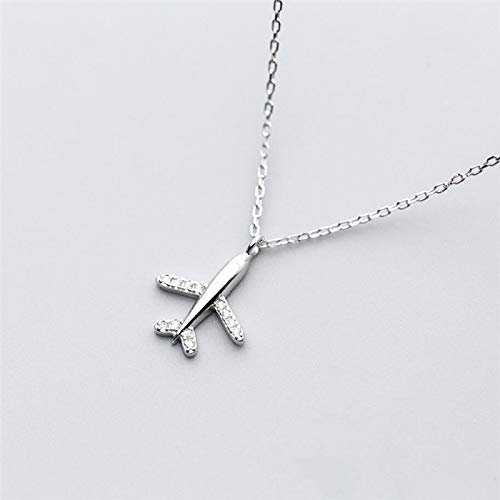 N/A Süße und süße Mini-Flugzeugliteratur 925 Sterling Silber Mode weibliche Ohrstecker Halskette