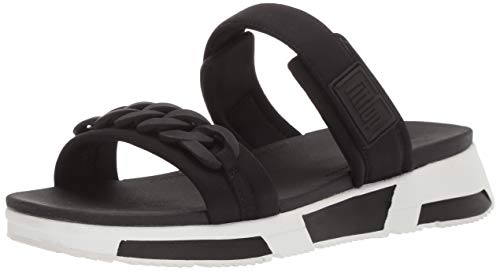 FitFlop Women's HEDA Sport Slide-Chain Sandal, Black, 10 M US