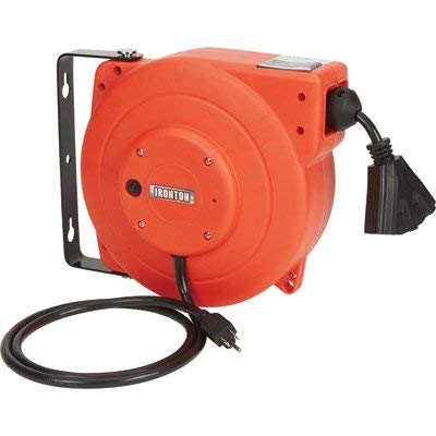 Ironton Retractable Extension Cord Reel - 40ft. 12/3, Triple Tap