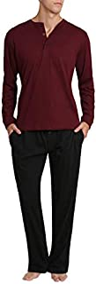 Image of Burgundy With Black Cotton Pajamas for Men - See More Solid Colors