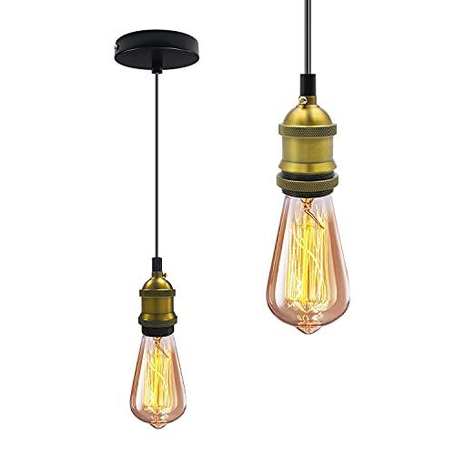 E27 Portalámparas Colgante Edison con Cable Ajustable 1.5m Lámpara Colgante Vintage, Antiguo...