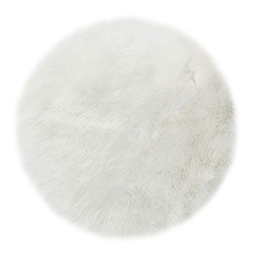 KABAKE Softlife Round Faux Fur Sheepskin Rug Chair Cover Seat Cushion Pad Soft Area Rugs for Bedroom Living Girls Room Sofa Home Decor Carpet (Dia 20in, White)