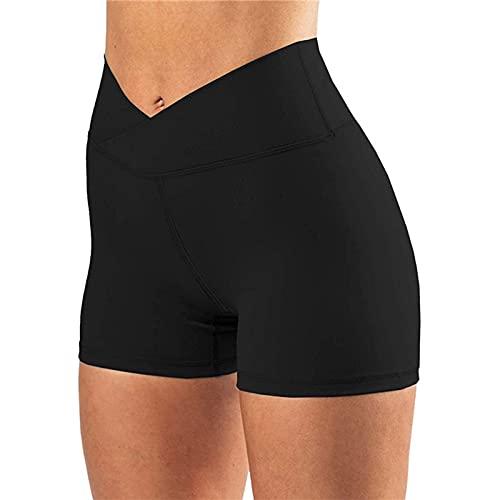 Eghunooye Damen Sommer Shorts Radlerhose Hohe Taille Sporthose Yoga Leggings Kurz Cross Waist Unterhose Hotpants für Sport Gym Bike (Schwarz, Small)