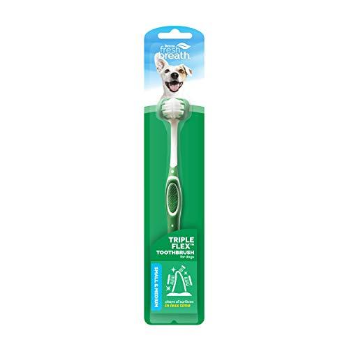Fresh Breath de TropiClean Cepillo de Dientes Triple Flex para Perros Pequeños - Cerdas en 360°, Limpieza Rápida y Fácil - Ayuda a Eliminar la Placa y el Sarro