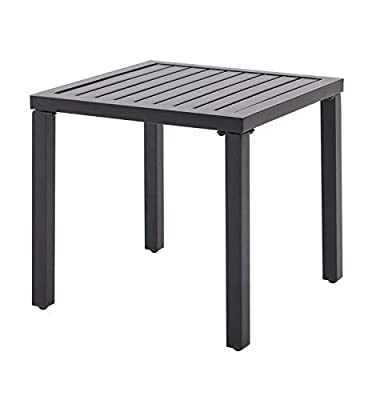 Outdoor Side End Table Metal Square Bistro Patio Coffee Table