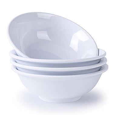 Melamine Cereal Bowls, Hware 4pcs White Dinnerware 7  Soup Bowls Set,17 Ounce, Dishwasher Safe