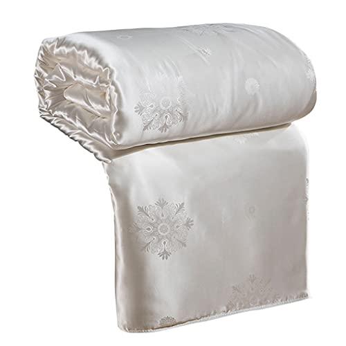 YUTR 4 Temporada 100% Mulberry Silk Edredón Edredón Inserte Manta de Seda Natural Manta Satén Edredón (Color : White, Size : 200 * 230cm)