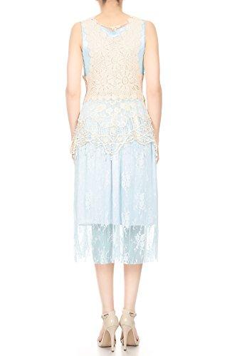 Anna-Kaci Womens Vintage Lace Gatsby 1920s Cocktail Dress with Crochet Vest, Light Blue, Large/X-Large