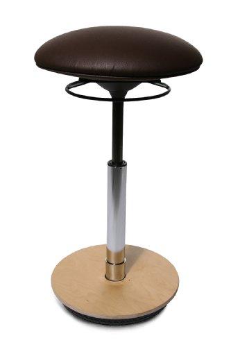 Topstar ST60S08 Drehhocker Sitness 26 / Bezugstoff dunkelbraun / Fussplatte Holz