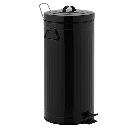 KITCHEN MOVE 927250E Black Retro Estilo Industrial AS-Cubo de Basura con Pedal, Metal y ABS, plástico, 30 x 30 x 68,5 cm