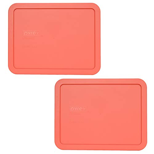 Pyrex 7211-PC 6 Cup Coral Rectangle Plastic Food Storage Lid - 2 Pack