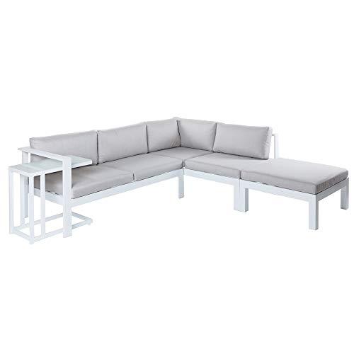 Conjunto de sofá de Exterior Blanco de Aluminio para jardín - LOLAhome