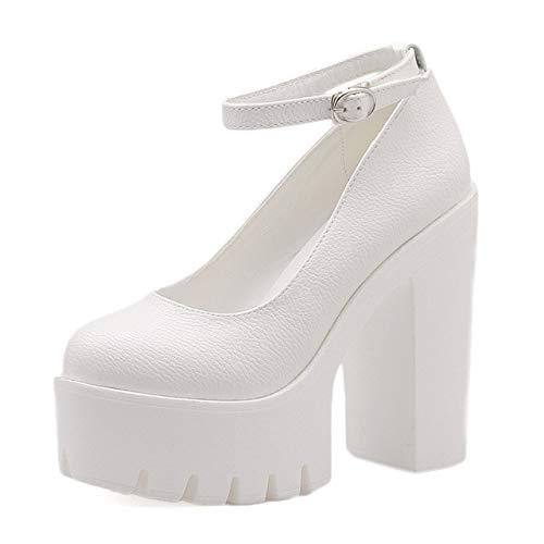 ACWTCHY Nieuwe Casual schoenen met hoge hakken Dikke hakken Platform Pumps Zwart Wit 9,5 witte schoenen