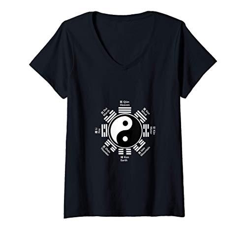 Mujer Ying Yang Chino Tai Chi Yin Regalo Feng Shui Bagua Kung Fu Camiseta Cuello V