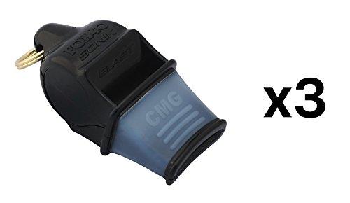 FOX 40 Sonik Blast CMG Whistle Referee Outdoor Enthusiast Dog Black (3-Pack)