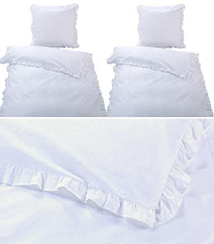 MB Warenhandel24 Bettwäsche Doppelpack Romantische RÜSCHEN Weiss 4-Teilige hochwertige Vintage Retro Stil Baumwolle Renforcé Weiss 2X 135x200 Bettbezug + 2X 80x80 Kissenbezug mit Reißverschluss