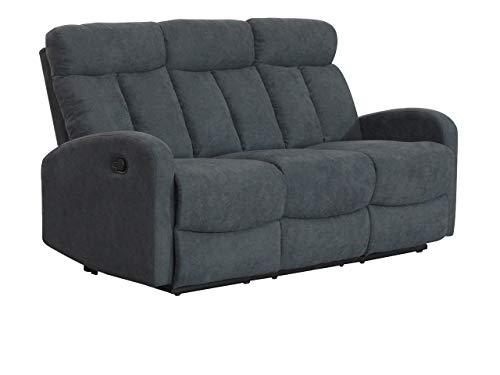 Mirjan24 Relaxsofa Encanto 3, Funktionsofa, Funktionscouch, Komfortsofa, Relaxcouch, Fernsehsofa, Wohnzimmer Couchgarnitur, Polstersofa, Sofagarnituren (103-32 (grau))
