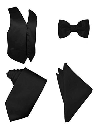 Oliver George 4pc Solid Vest Set-Black-M