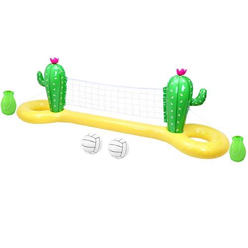 TOYANDONA Volleyball-Spiel-Set, 299,7 x 69,8 x 99,1 cm, Kaktus, aufblasbares Pool-Volleyballnetz und Bälle für Kinder und Erwachsene