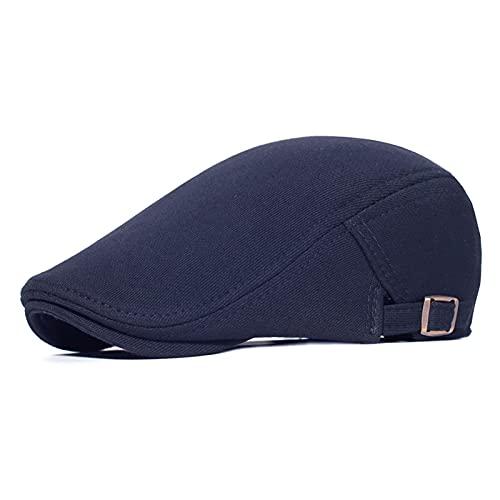 Fuxwlgs Berets Cotton Adjustable Newsboy Caps Men Woman Casual Beret (Color : Navy Blue, Hat Size : Adjustable 56-60 cm)