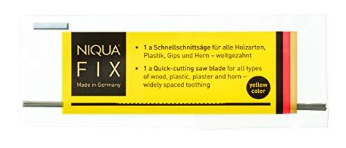 Holzlaubsägeblätter NIQUA FIX GELB Laubsägeblätter - 12 Stück - 0,34 x 0,80 x 130 mm - Sägeblatt Werkzeug zum Sägen von Holz Plastik, Gips, Carbon und Horn