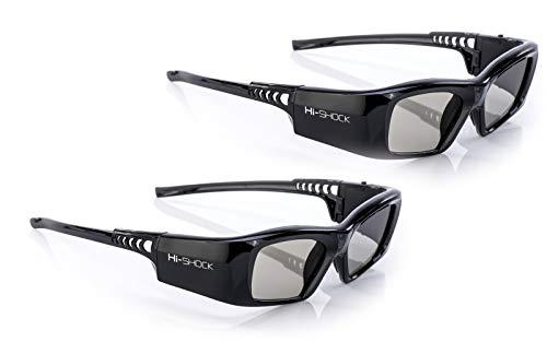 "2X Hi-SHOCK DLP Pro 7G ""Black Diamond"" | DLP Link 3D Brille für alle DLP 3D Beamer | Kompatibel mit Optoma, Ace, Benq, Vivitec, Viewsonic, LG [Neuste Gen. | Shutterbrille | 96-200 Hz | 39g | Akku]"