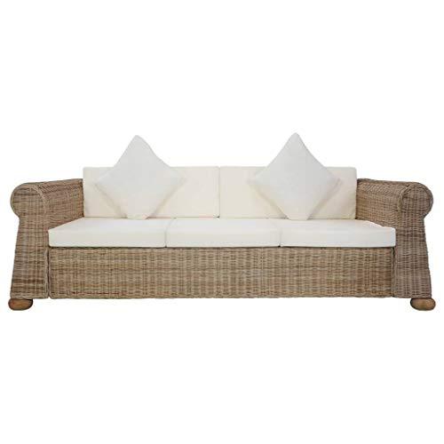 Tidyard Sofa 3-Sitzer mit Polstern Couch Rattansofa Loungesofa Sitzmöbel Wohnzimmersofa Wohnmöbel Büromöbel Rattanmöbel Designersofa Natürliches Rattan