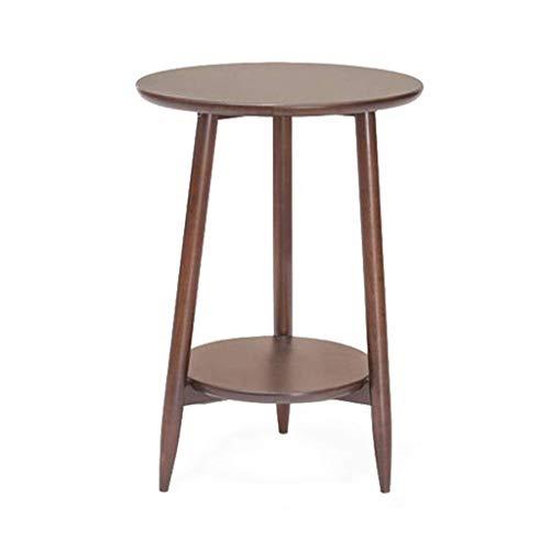 Beistelltisch Couchtisch Sofatisch Wohnzimmertisch Ende Tabellen Couchtisch Double Layer Sofa Tisch Beistelltisch mit Massivholz-Runde Teetisch, Leicht zu montieren (Color : Walnut Color)