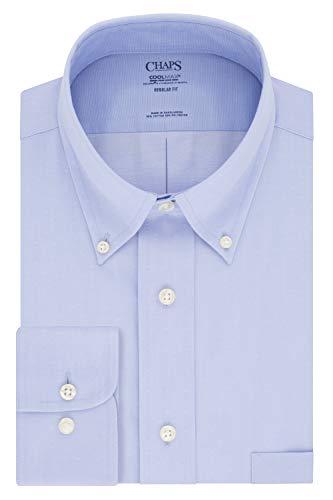 Chaps Men's Dress Shirt Regular Fit Stretch Solid, Mist, 15.5' Neck 32'-33' Sleeve (Medium)