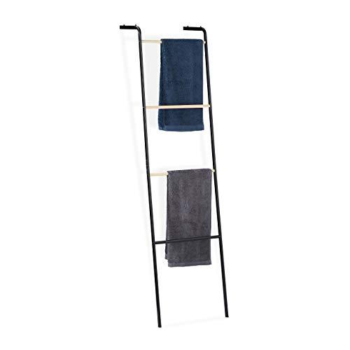 Relaxdays Handtuchleiter aus Metall, 4 Sprossen, für Handtücher & Kleidung, platzsparend, HxBxT 160x40x26 cm, schwarz