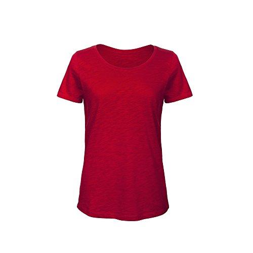 B&C - Camiseta de Manga Corta de algodón orgánico para Mujer (Grande (L)) (Rojo Chic)