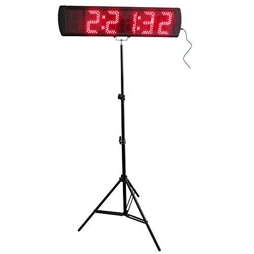 NeoMcc Despertadores Temporizador Electrónicos 5'Alto Color Rojo LED Race Race Reloj Reloj Countdown/Up Temporizador con trípode para Eventos de Carrera al Aire Libre Temporizador Digital