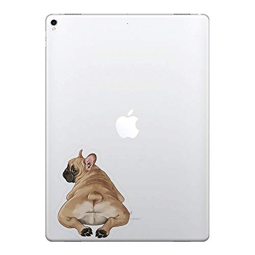 FINCIBO 5 x 5 inch French Bulldog Butt Looking Back Removable Vinyl Decal Stickers for iPad MacBook Laptop (Or Any Flat Surface)