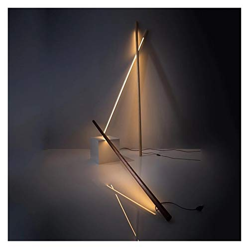 JSJJAER Lampara de pie Moderna Simple nórdica de la Sala de Led Lámparas de pie Creativa Dormitorio Lámparas de Nogal Negro Libre Lámparas de pie for Sala de Estar Decoración hogareña acogedora