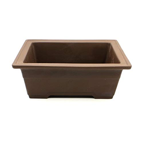 Bonsai Pot Ceramic Rectangle with Belt-Like Decoration (7.25 ', No-Glazed)