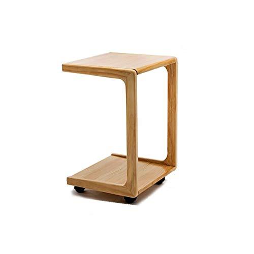 Saladplates-LXM bijzettafel, U-vorm, gemakkelijk te monteren, koffietafel, voor koffie-laptop, met wieltjes, voor woonkamer, slaapkamer, balkon, 2 kleuren