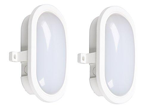 SMARTWARES set van 2 LED kelderlampen buitenverlichting wit, 450 lumen, 4000 Kelvin, IP44; GOL-001-HW