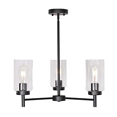 VINLUZ Contemporary Chandeliers Black 3 Lights with Clear Glass Shades Modern Industrial Pendant Light Dining Room Lighting Fixtures Hanging Adjustable Wire Semi Flush Ceiling Lights