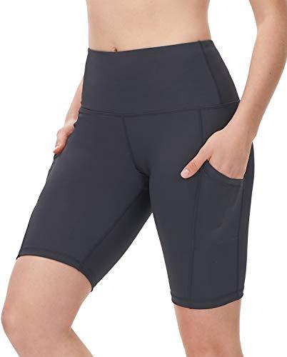 "DILANNI Women's 8"" High Waist Yoga Shorts Side Pocket Tummy Control Workout Running Athletic Short Pants Steel Gray XL"