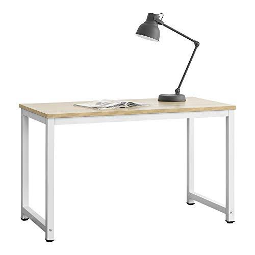 [en.casa] Schreibtisch Herning in Weiß und Eiche-Optik Höhenverstellbar Bürotisch 75x120x60cm Computertisch Tisch Arbeitstisch Laptop-Tisch