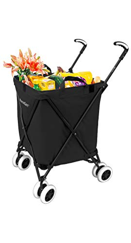 The Original VersaCart Transit Folding Shopping and Utility Cart, Water-Resistant Heavy-Duty Canvas...